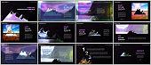 Presentations design, vector templates. Background for tourist camp, nature tourism, camping. Aadventure design concept. Multipurpose template for presentation slide, flyer leaflet, brochure cover.