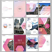 Creative brochure templates with hexagonal design pink color pattern background. Covers design templates for flyer, leaflet, brochure, report, presentation, advertising, magazine.