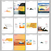 Creative brochure templates. Covers design templates for flyer, leaflet, brochure, report, presentation, magazine. Background for tourist camp, nature tourism, camping. Aadventure design concept.