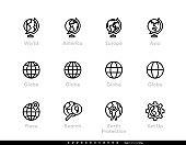 World and Globe Editable Line Icons.