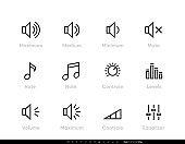 Sound, Volume, Controls Equaliser, Note, Levels Editable line icon