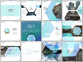 Minimal brochure templates with hexagonal design blue color pattern background. Covers design templates for square flyer, leaflet, brochure, report, presentation, advertising, magazine.