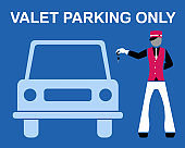 Valet parking only signboard desing with valet and car silhouette