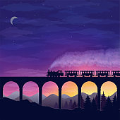 beautiful night landscape with a train traveling over a bridge, mountains and forest against a starry sky.vector illustration