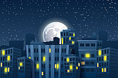Illustration of night cityscape with the moon. Modern skyscrapers with light in flats. Night city skyline with full moon over roofs of city houses. Vector illustration