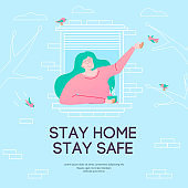 Stay home stay safe - concept illustration