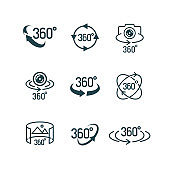 Vector 360 degrees view icon set isolated on white