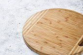 Top view of a round wooden cutting board