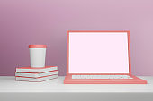 Business Laptop mockup in minimal 3d rendering design