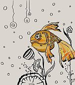 Goldfish character. Yellow golden colored. High quality illustration