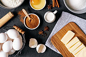 Baking Ingredients for Cooking Recipe Background