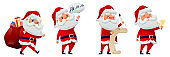 Cartoon santa claus collection. Funny Santa Claus celebrating Christmas and New Year.  Happy Santa with bag and gifts. Characters with different emotions Santa. Vector illustration