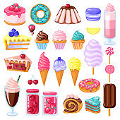 set of colorful sweet food. Donut, ice cream, muffins, smoothies, macaroons and candies with pink, chocolate, blue mint, lemon and blueberry topping.Vector illustration