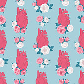 Realistic human heart and roses seamless pattern. Background for fabric, wrapping, wallpaper. Decorative flowers print. Vector illustration