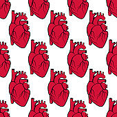 Realistic human heart seamless pattern. Background for fabric, wrapping, wallpaper. Decorative print. Vector illustration