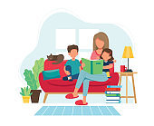 Stay home concept. Mother reading to kids in cozy modern interior. Vector illustration in flat style