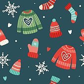 Christmas pattern with cute sweaters, hats, socks and gloves, vector illustration in flat style