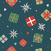 Christmas pattern with cute gifts, vector illustration in flat style