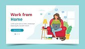 Home office concept, woman working from home sitting on a chair, student or freelancer. Landing page template. Cute vector illustration in flat style