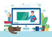 Online learning concept. Screen with teacher and chalkboard, video lesson. Vector illustration in flat style