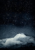 Night sky with cloud and stars. Hand drawn watercolor painting.