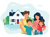 Family with children and a cute house. Vector illustration in flat style