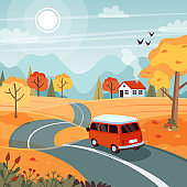 Autumn trip. Landscape with a cute van on the road. Vector illustration in flat style