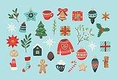 Christmas set, cute seasonal elements, vector illustration in flat style