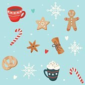 Christmas pattern with cute cups and ginger cookies, vector illustration in flat style
