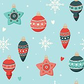Christmas pattern with cute decorations, vector illustration in flat style