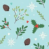 Christmas pattern with holly, misteltoe, fir branches. Vector illustration in flat style
