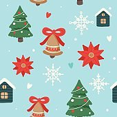 Christmas pattern with cute decorated christmas trees, houses and bells, vector illustration in flat style