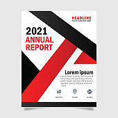 Abstract annual report red and black brochure template