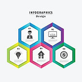 Timeline modern vector illustration 3D. Infographic template with five hexagon elements