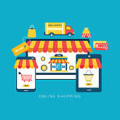 Online shopping concept. Laptop, tablet, phone screen with screen buy. Shopping icons