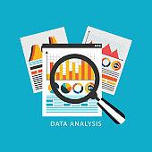 Analytics data research icon
