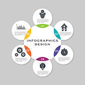 Vector circle infographic. Template for cycle diagram, graph, presentation and round chart. Business concept with 6 options, parts, steps or processes. Data visualization