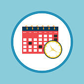 Calendar with Clock Flat Icon