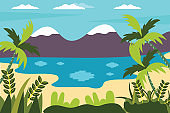 Vector illustration - beach landscape - plants, leaves, palm trees and ocean - background