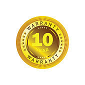10 year warranty circle button with stars
