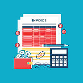financial concept of invoice sheet, pen, calculator, coins, banknotes and glasses
