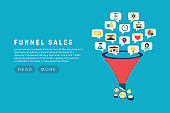 Funnel sale generation. Digital marketing funnel lead generations with buyers. Strategy, conversion rate optimization vector concept