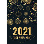 2021 New year greeting card with fireworks
