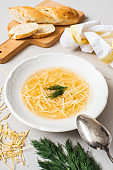 Russian homemade chicken noodle soup with dill in a white plate