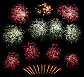 Set of colorful fireworks isolated on black background, Colorful