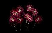 Fireworks on isolated black background.