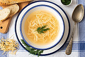 Russian homemade chicken noodle soup with dill in a white and blue plate