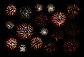 Set of colorful fireworks isolated on black background, Colorful fireworks collection