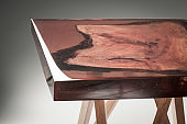 unique resin and wood table, studio
