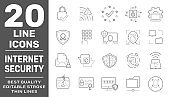 Internet Protection line icon set. Collection of high quality black outline logo for web site design and mobile apps. Vector illustration on a white background. Editable Stroke. EPS 10
